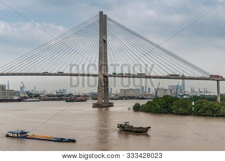 Ho Chi Minh City, Vietnam - March 12, 2019: Long Tau And Song Sai Gon Rivers Meeting Point. H-shaped