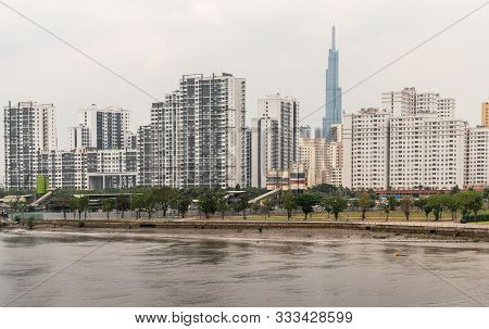 Ho Chi Minh City, Vietnam - March 12, 2019: Song Sai Gon River. Line Of High Rise Apartment Building