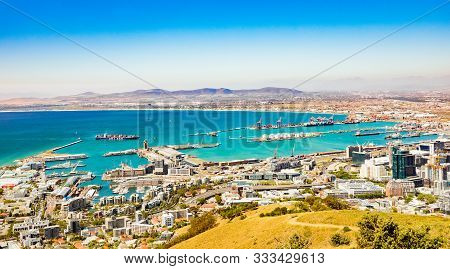 Elevated Panoramic View Of V&a Waterfront Harbor In Cape Town South Africa