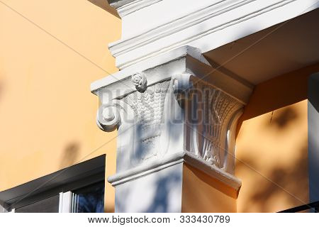 A Simple Capital On A Column On The Facade Of The Building. 1950s Stalin Empire Architecture