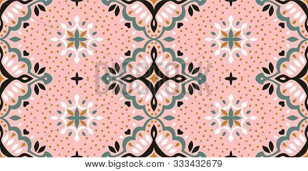 Oriental Vector Damask Pattern. Talavera Pottery. Azulejos Portugal. Turkish Ornament. Spanish Porce