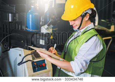 Female Note Writing Clipboard Engineer Factory Inspection With Robot Ai  Machine Assist Production E