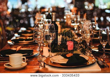 Beautiful Dinner Table Setting. Vintage Decoration Of Reception Table. Elegant Arrangement Of The Ho