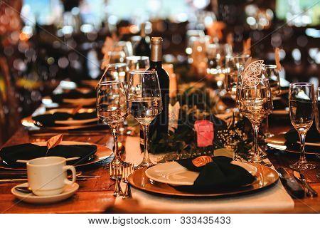Beautiful Dinner Table Setting. Vintage Decoration Of Reception Table. Elegant Arrangement Of The Ho