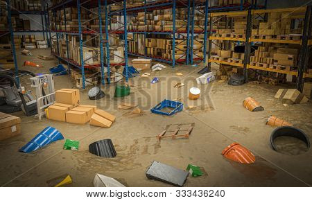 interior of a warehouse full of goods damaged by a flood of water and mud. 3d render image