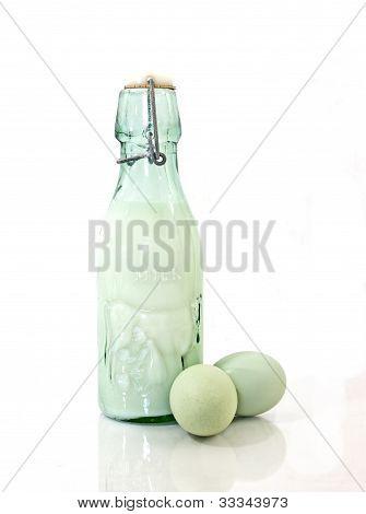 Vintage Milk Bottle and Green Eggs
