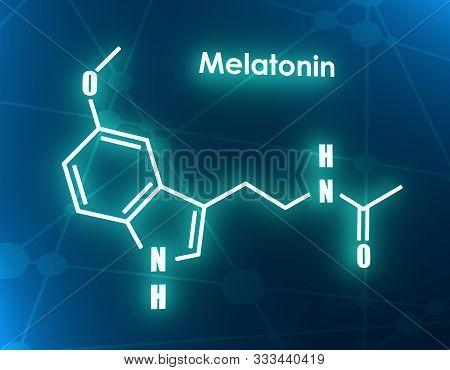 Melatonin Hormone Chemical Molecular Formula. In Humans, It Plays A Role In Circadian Rhythm Synchro