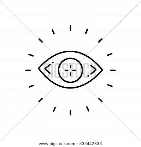 Black Line Icon For  Optometry Optician Eye Eyesight Lens