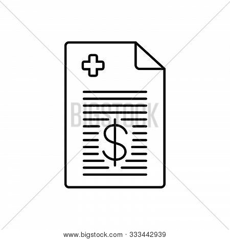 Black Line Icon For  Medical-bill Medical Bill Paperwork Medical-cost