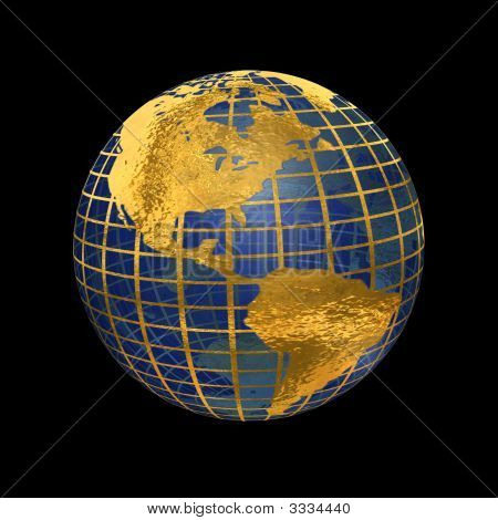 Blue Glass And Gold Metal Globe