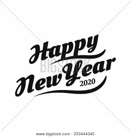 Happy New Year 2020 On White Background.