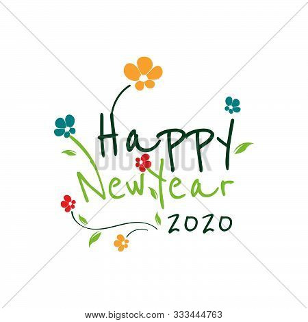 Happy New Year 2020 On White Background. .gretting Card With Floral Template Of .new Year 2020 Celeb