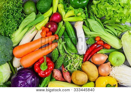 Mixed Vegetables And Fruits Background Healthy Food Clean Eating For Health / Assorted Fresh Ripe Fr