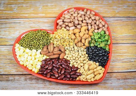 Natural Healthy Food For Cooking Ingredients Collage Various Beans Mix Peas Agriculture / Set Of Dif
