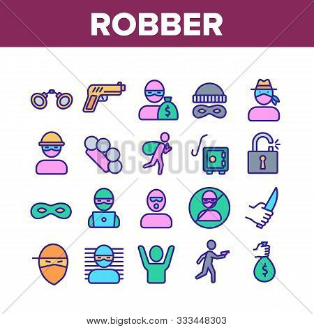 Robber Crime Collection Elements Icons Set Vector Thin Line. Bag Of Money And Mask, Knife And Gun, B