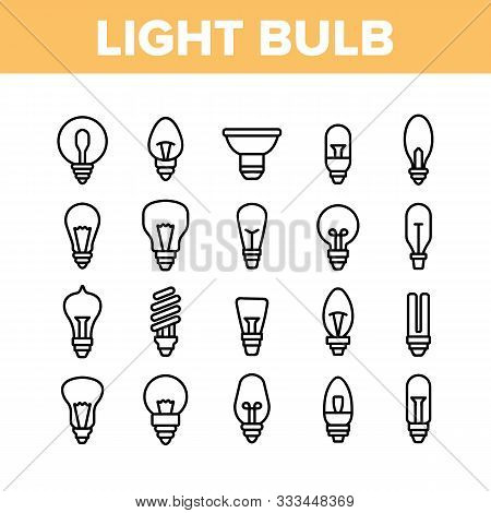 Light Bulb Collection Elements Icons Set Vector Thin Line. Electricity Energy Saving And Incandescen