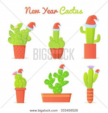 Cartoon Cactus In Christmas Santa S Hat Set. Winter Holidays In Dessert Concept. New Year Mexico Vec
