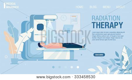 Flat Landing Page Offering Radiation Therapy Service. Cancer Treatment With Radiotherapy. Cancerous
