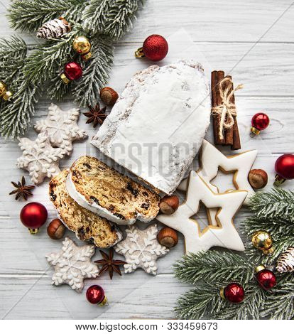 Christmas Stollen On Wooden Background