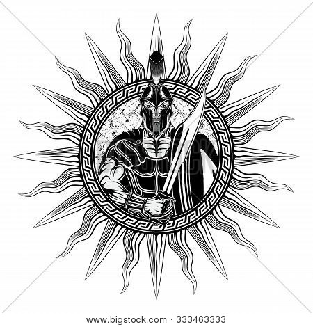 Vector Illustration Of A Greek Warrior With Sword And Shield In A Circular Traditional Ornament. Spa