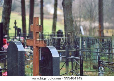 Gravestones And Funeral Posts. Christian Russian Cemetery.