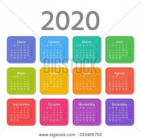 Spanish Calendar 2020 Year. Week Starts Monday. Vector Illustration. Spain Calender Template. Yearly