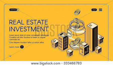 Real Estate Investment Isometric Landing Page, Dollar Coins Falling To Huge Jar Surrounded With City