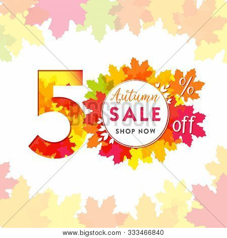 50 Autumn Red Logotype. Colorful Foliage, Frame And White Paper Background. Calendar Numbers Idea. 5