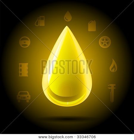 Golden Oil Machinery Drop Icon