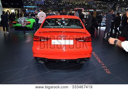 Geneva, Switzerland, March 06-2018: Audi Rs3 Quattro At Gims