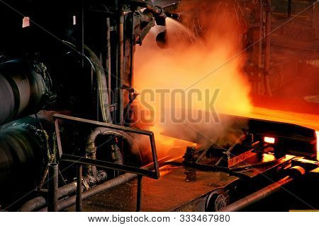 Hot Steel Rolling Mill On Integrated Steelworks.