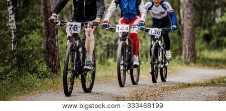 Group Of Athletes Cyclists Biking Mountain Bike On Forest Trail