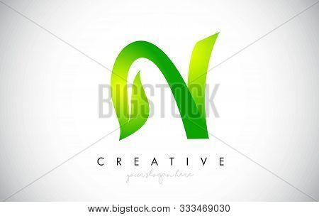 N Leaf Letter Logo Icon Design In Green Colors. Eco Bio Letter Design Vector Illustration.