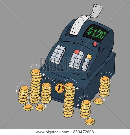 Cash Register Icon. Vector Illustration Of A Cash Register With Check And Bill. Hand Drawn Cash Regi