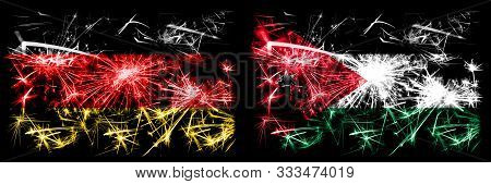 Germany, German Vs Jordan, Jordanian New Year Celebration Travel Sparkling Fireworks Flags Concept B