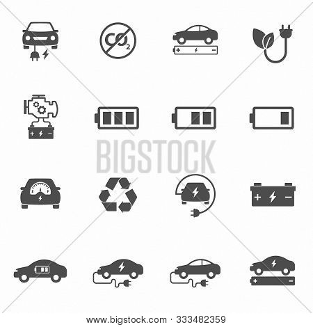 Electric Eco Car Vector Icons Set Isolated On White Background. Electric Ecological Transport Comcep