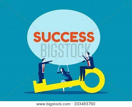 Business Team And Success Speech Bubble. Concept Business Vector, Achievement, Key, Teamwork.