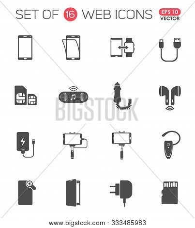 Smartphone Accessories Icon Set. Smartphone Accessories Vector Icons For Web, Mobile And User Interf