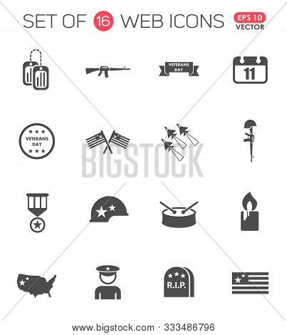 Veterans Day Icon Set. Veterans Day Web Icons For Your Project