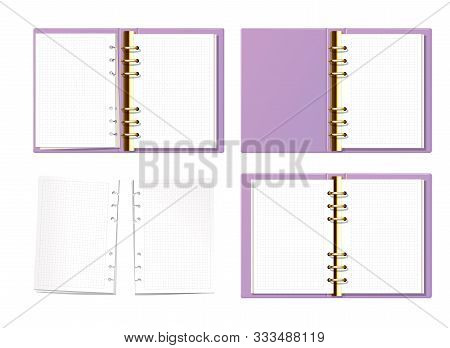 Violet Open Notebook Mock Up Top View. Paper With Dot Texture. Opened Ring Book With Clear Blank Pag