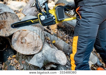 Professional lumberjack in protective workwear working with a chainsaw in the forest, sawing wooden logs, close-up view with no face poster