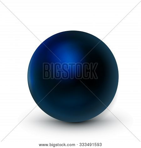 Blue Dark Sphere, Ball. Mock Up Of Clean Round The Realistic Object, Orb Icon. Design Decoration Rou