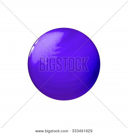 Blue Glossy Textured In Streaks Sphere, Polished Ball. Mock Up Of Clean Round Realistic Object, Glas