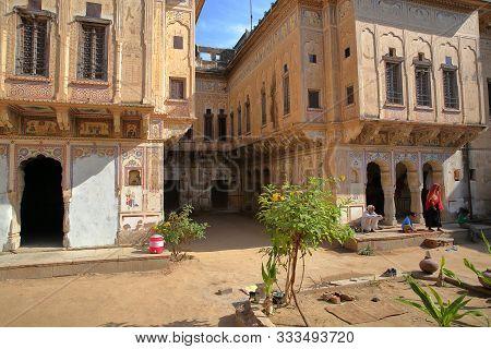 Mandawa, Rajasthan, India - December 27, 2017: Chokani Double Haveli With Frescoes