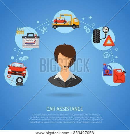 Car Service, Roadside Assistance And Maintenance Banners With Flat Icons Operator, Car Repair, Tire