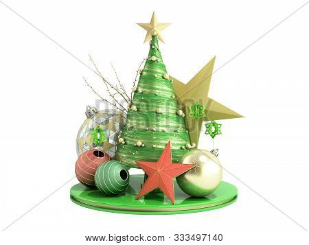 New Year Green Decorative Christmas Tree 3d Render On White No Shadow