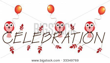 Red celebration twig text isolated on white background poster