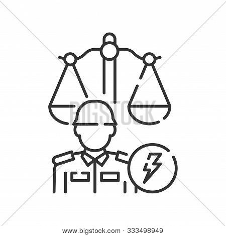 Military Court Line Black Icon. Judiciary Concept. Officer In Uniform Element. Sign For Web Page, Mo