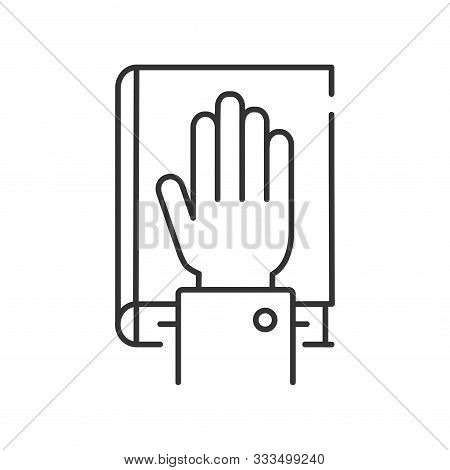 Give Oath Line Black Icon. Palm On Holy Bible. Judiciary Concept. Sign For Web Page, Mobile App, But