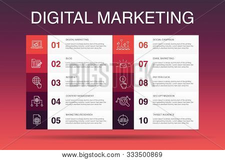 Digital Marketing Infographic 10 Option Template. Internet, Marketing Research, Social Campaign, Pay